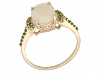 Damen Opal Chromdiopsid Ring 9 Karat 375 Gold 57 - 18,0 mm 1,15 ct.