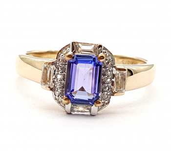Harry Ivens Ring AA Tansanit & Weisstopas 1,45 ct. 375 Gelbgold 66 - 21,0 mm