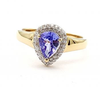 Harry Ivens AAA Tansanit Ring 48 Diamanten 1,12 ct. 585 Gelbgold 63 - 20,0 mm
