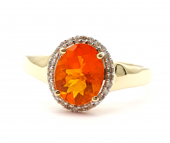 Harry Ivens Ring Feueropal & 28 Diamanten 1,52 ct. 585 Gelbgold 66 - 21,0 mm