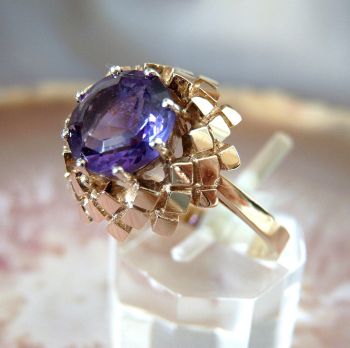 Vintage Amethyst Ring 585 / 14 k Gold Gr. 55 - 17,5 mm Ø