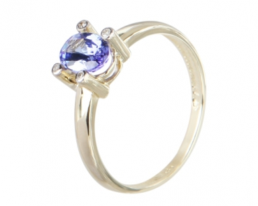 Sogni D'oro Ring AA Tansanit und Diamanten 585 / 14 k Gold 56 - 17,8 mm Ø 2,21 ct.