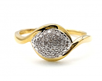 14 Karat Damen Diamant 585 Gold 37 Diamanten 0,15 ct. 63 - 20,0 mm