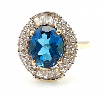 9 Karat London Blue Topas Ring 42 x Zirkon 375 Gold 63 - 20,0 mm Ø 4,01 ct.